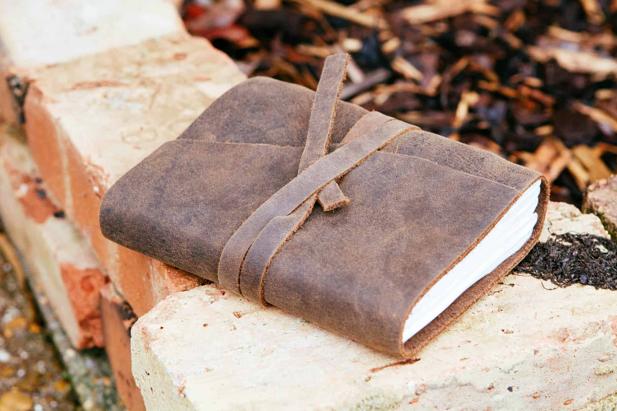 Handmade Rustic Leather Journal with free logo.